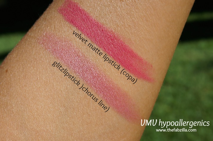 review, swatch, vmv hypoallergenics matte lipstick, glitz lipstick, cola,chorus line