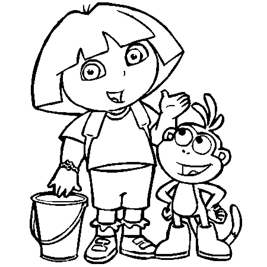 colour drawing free hd wallpapers dora and boots coloring page