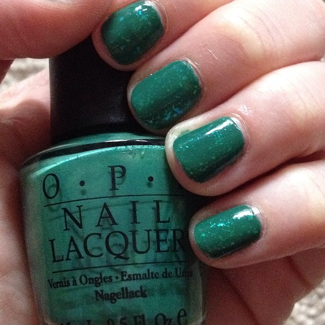 My 2014 in nails, #ManiMonday, Mani Monday, manicure, nails, nail polish, nail lacquer, nail varnish, St. Patrick's Day Nail Art, Zoya Opal, OPI Jade is the New Black