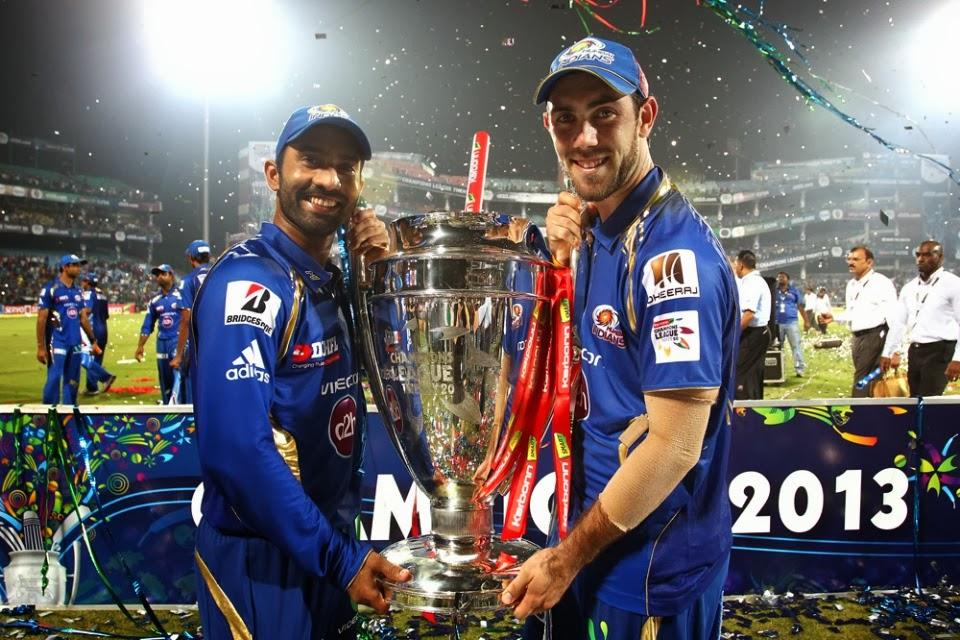 Dinesh-Karthik-Glen-Maxwell-MUMBAI-INDIANS-WIN-CLT20-2013