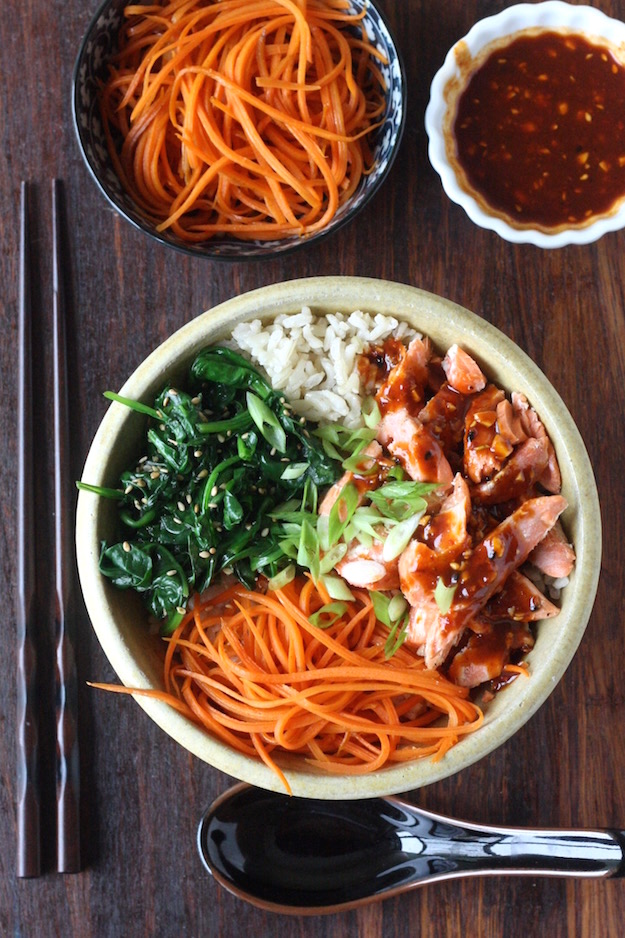 Salmon Brown Rice Bibimbap by SeasonWithSpice.com