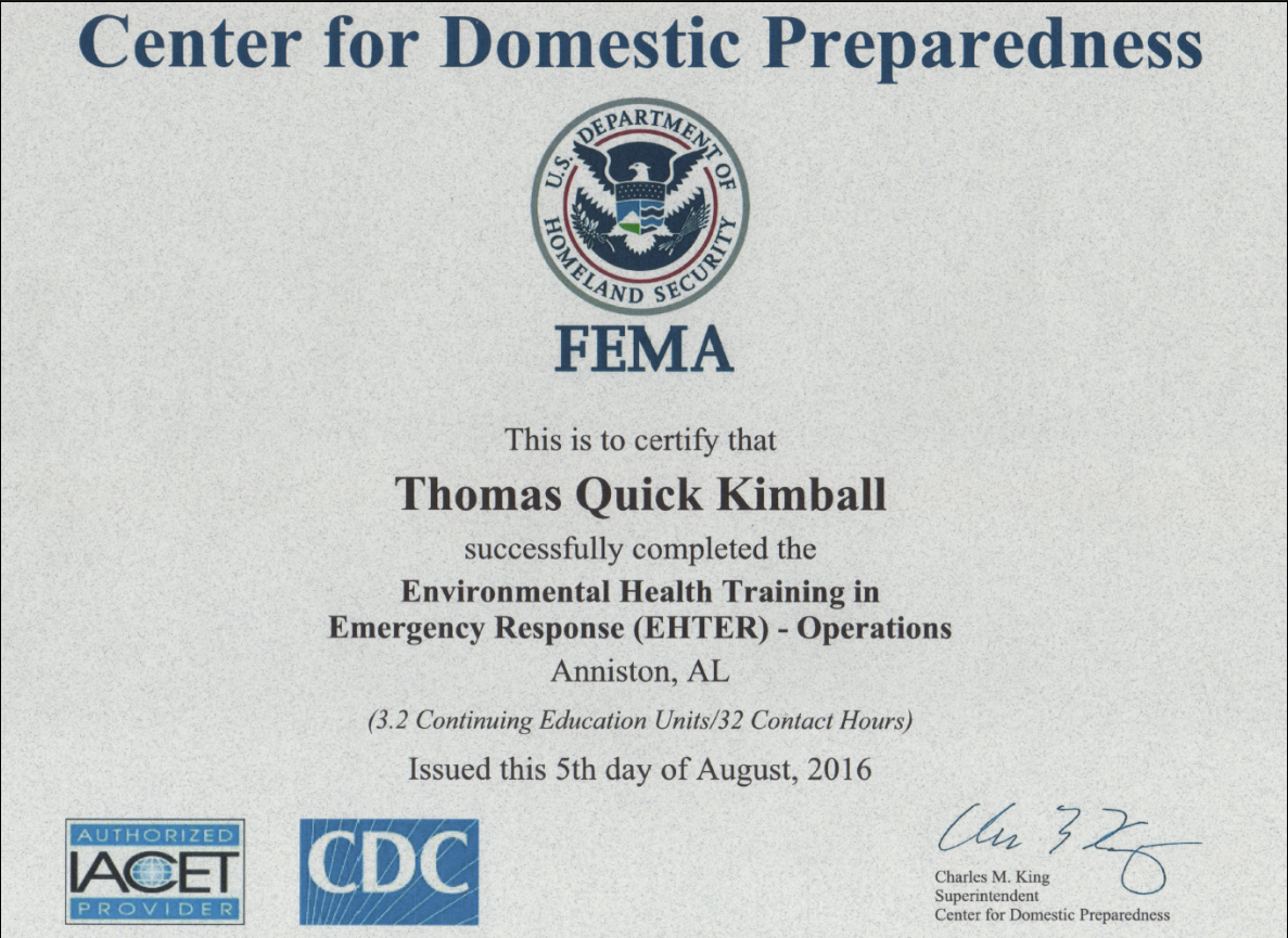 The Environmental Health Training in Emergency Response Operations (EHTER Ops) EHTER OPS PER-309