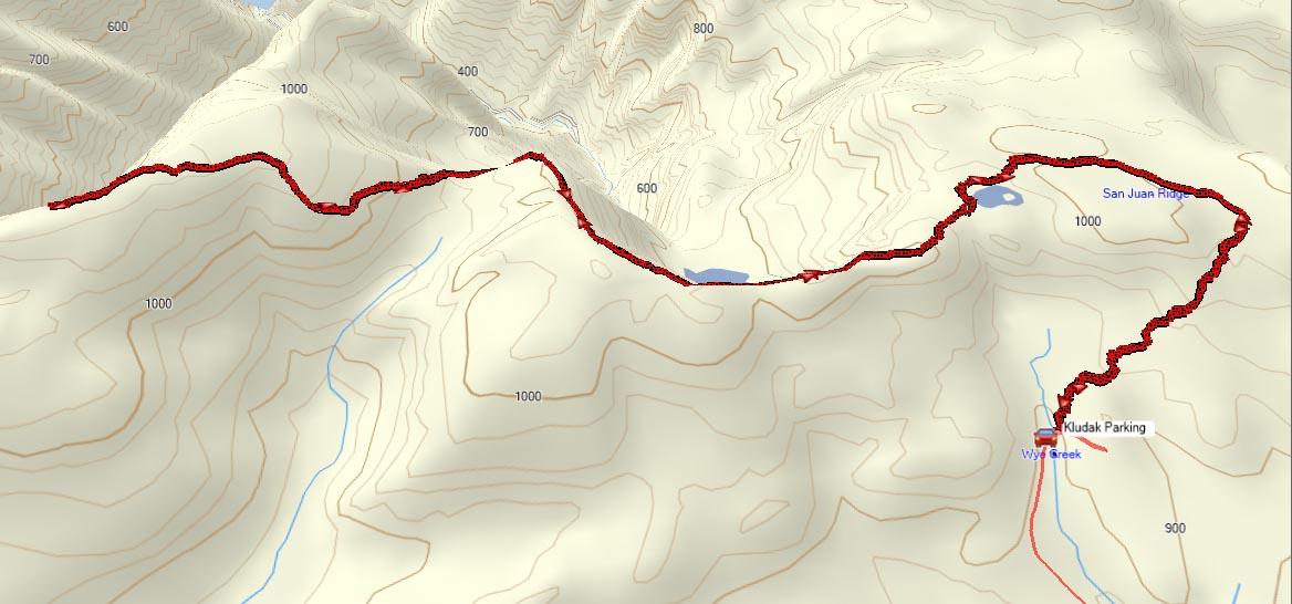 Kludahk Trail GPS Route