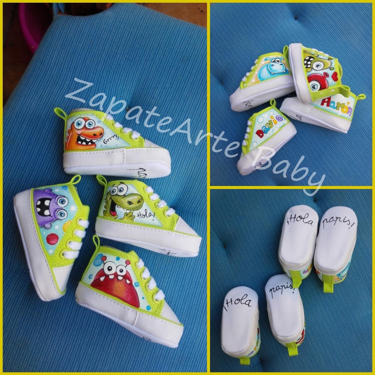 Zapatearte minibotas pintadas a mano regalos para bebes for Cosas para casa originales