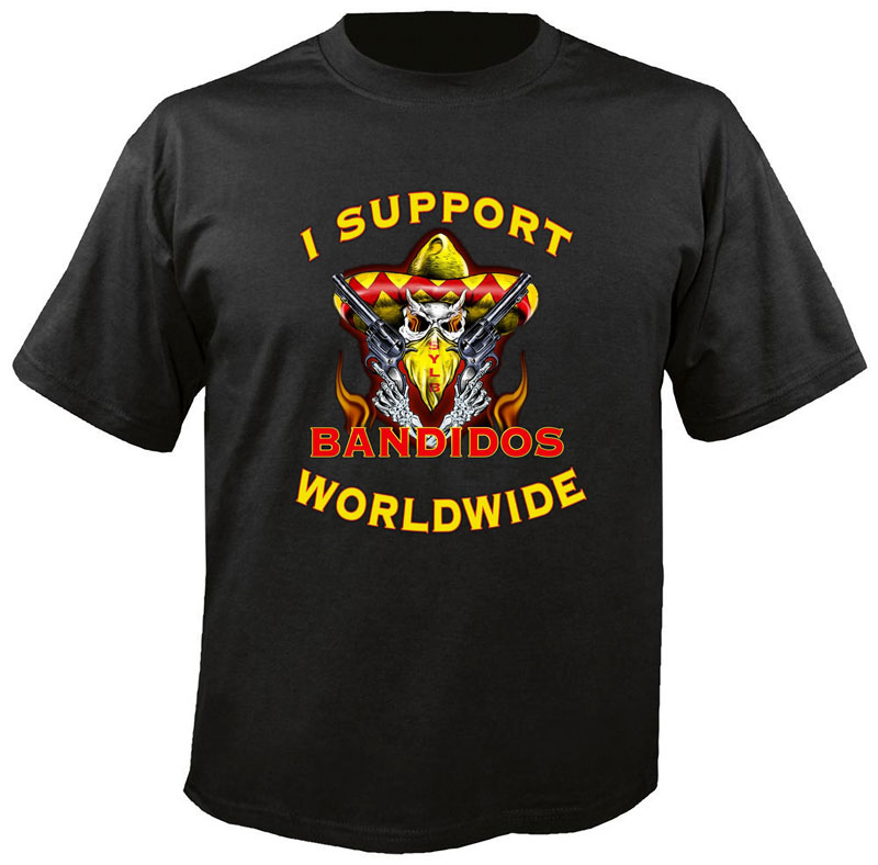 I Support Bandidos Worldwide Black T-Shirt 1 Side