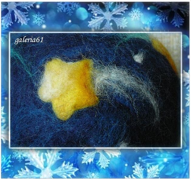 Bombka filcowana na sucho - gwiazdy, kometa