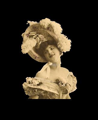 dama vintage con gran sombrero de plumas