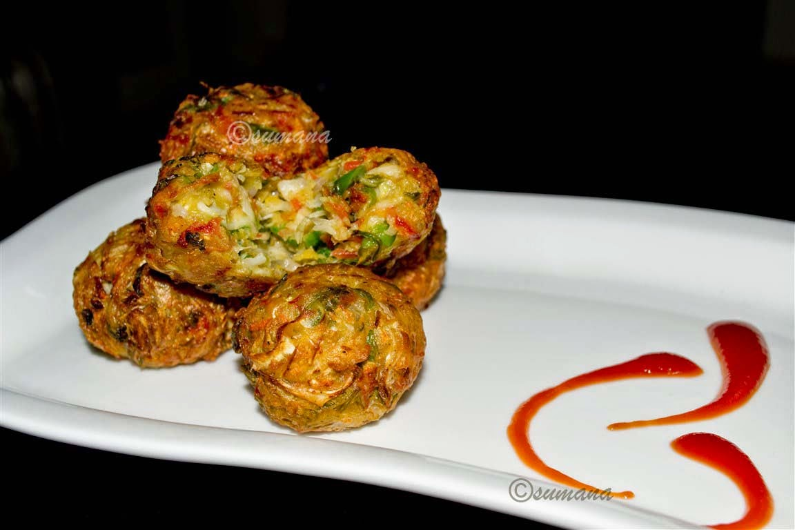 Crispy chopped vegetable cheese ball