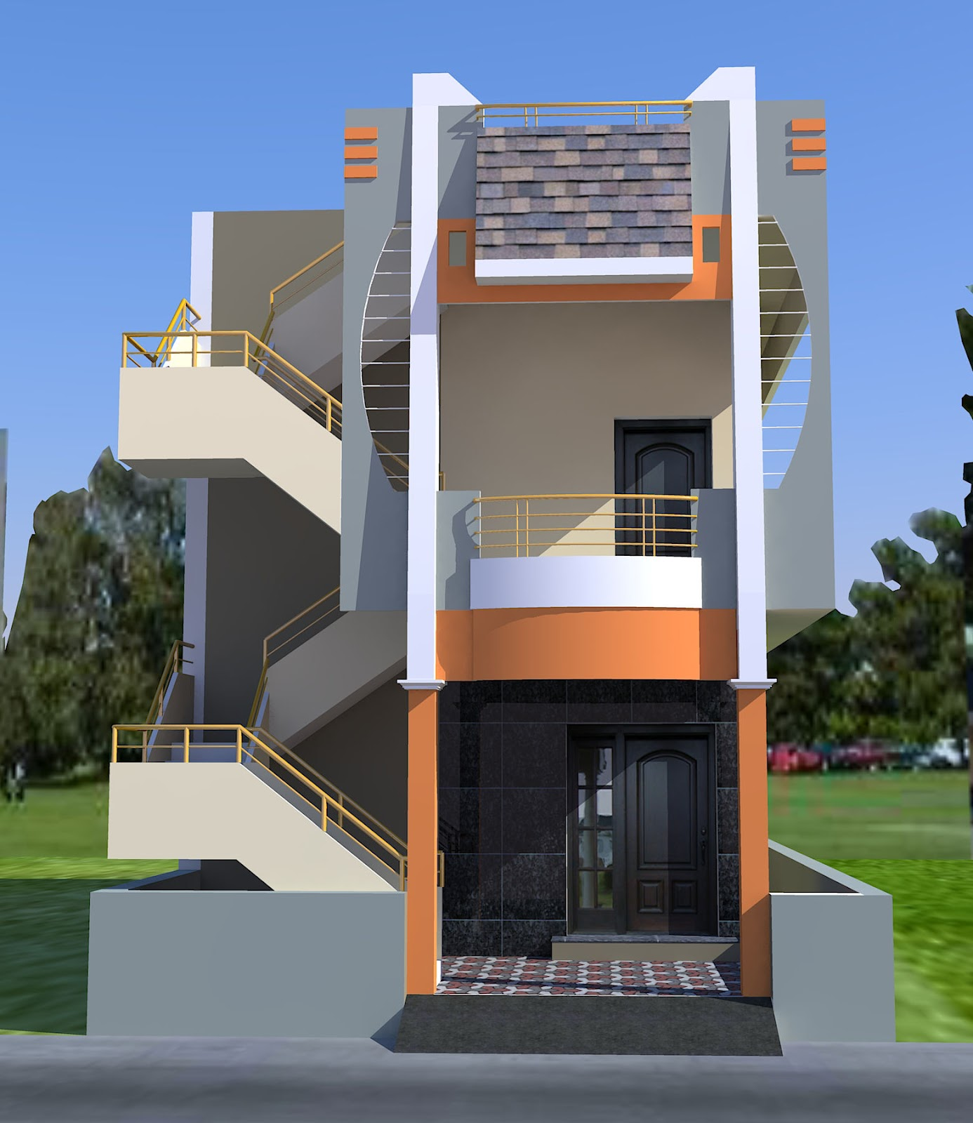 3d perspective views for House elevation for three floors building
