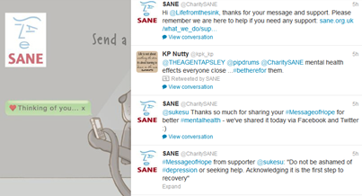 SANE tweets and messages of hope for better mental health