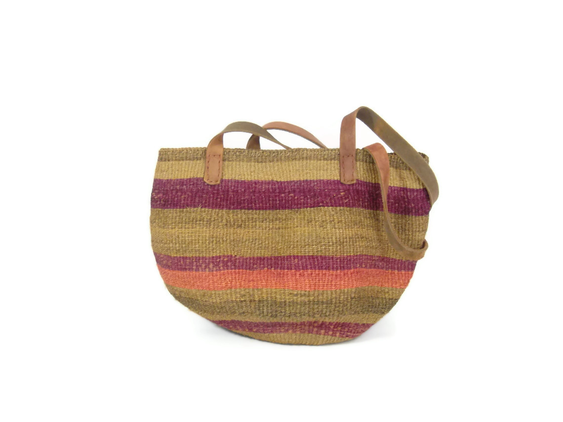 pink and purple sisal beach tote