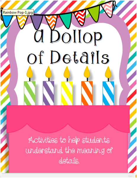 http://www.teacherspayteachers.com/Product/A-Dollop-of-Details-Activities-for-Adding-Details-to-Writing-1289217