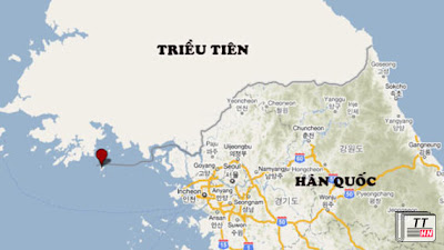 Vị trí hòn đảo Yeonpyeong của Hàn Quốc nơi bị Triều Tiên nã pháo.