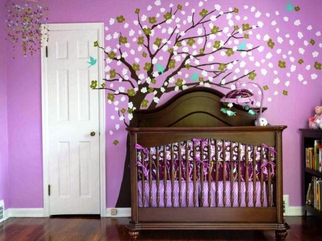 Painting ideas for baby nursery for Baby girl nursery paintings