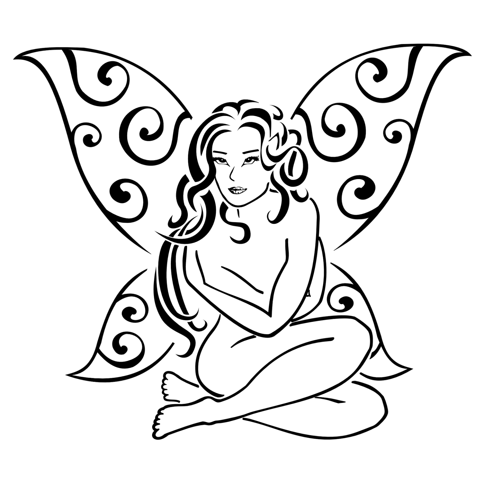 Nude fairy with butterfly wings tattoo stencil