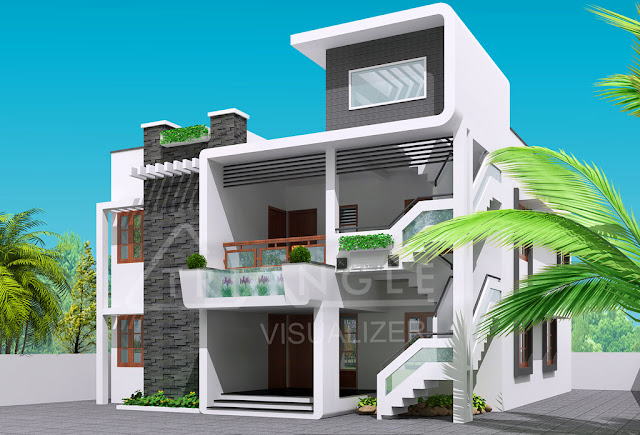 Futuristic home design with 3 floors | Home Inspiration