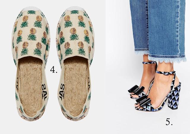 espadryle w ananasy we wzory oraz sandałki na obcasie