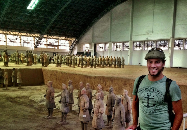 Standing next to the Terracotta warriors in Pit 1 - Xi'an, China