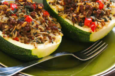 Vegetarian Stuffed Zucchini with Brown Rice, Black Beans, Chiles, Che ...