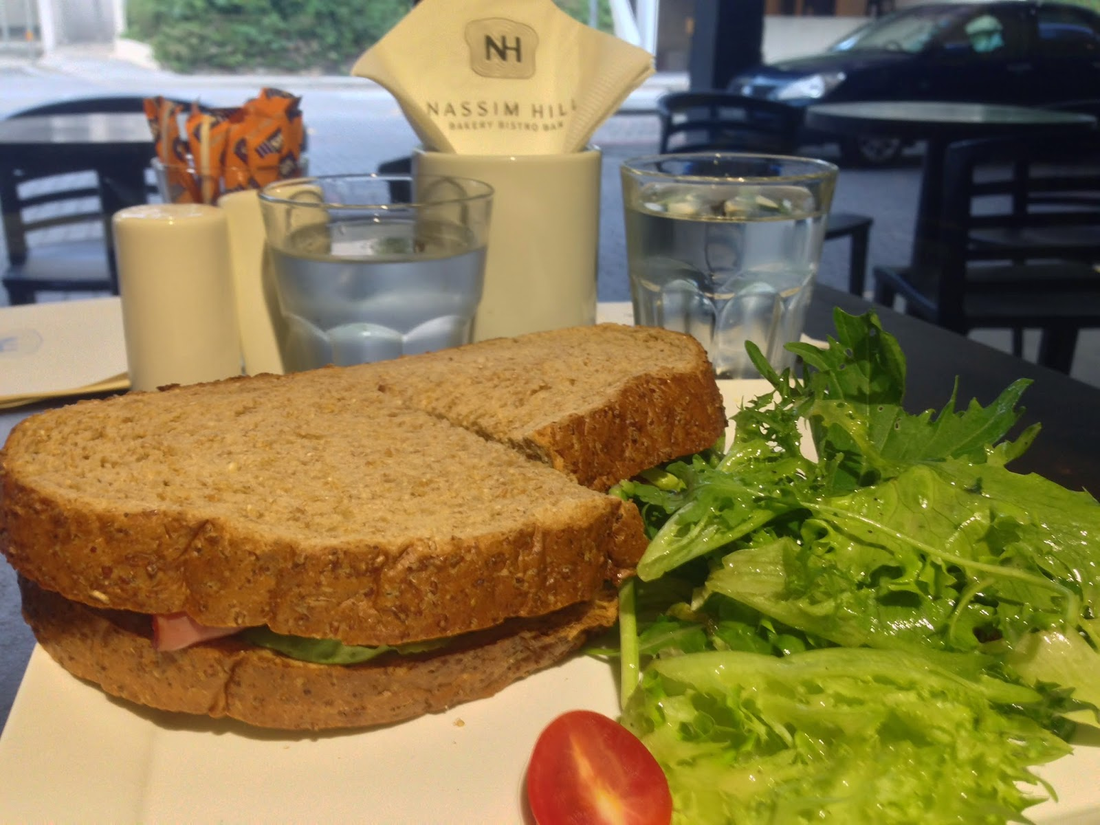 Ham & Cheese Sandwich with Honey Baked Ham, Emmental, Lettuce and Tomato on Asahi Kuronama Beer Bread