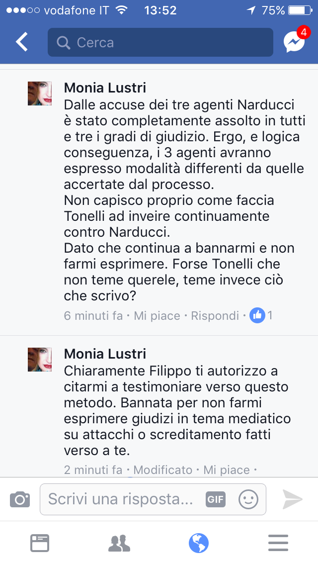 Autorizzo Filippo Narducci a citarmi come teste....