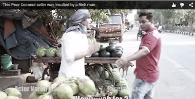 Poor cocunot juice vendor insulted by the rich man