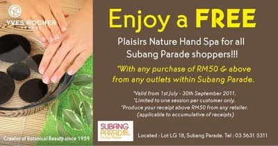 Enjoy a Free Plaisirs Nature Hand Spa from Yves Rocher for all Subang Parade shoppers!