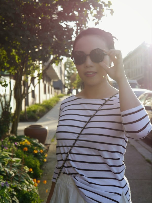 Black and white Breton stripes and oversize black sunnies