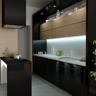 Cucina con colori scuri immagine