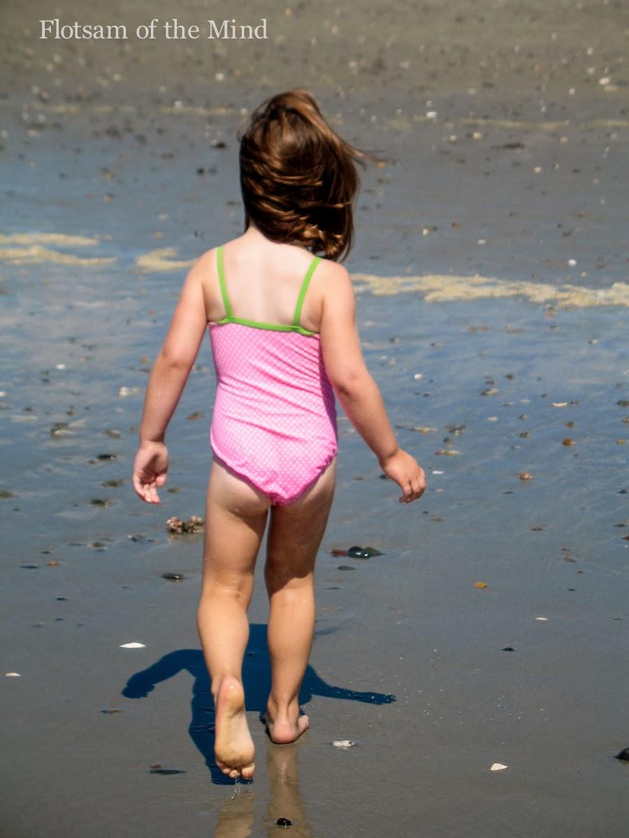 Little Girl on a Windy Beach - Flotsam of the Mind