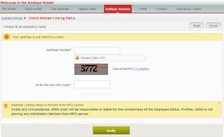 Check Aadhaar Linking Status with Bank