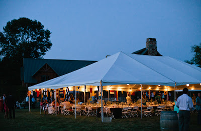 Wedding tent aglow for Ben and Caitlin's celebration.  Patricia Stimac, A Heavenly Ceremony