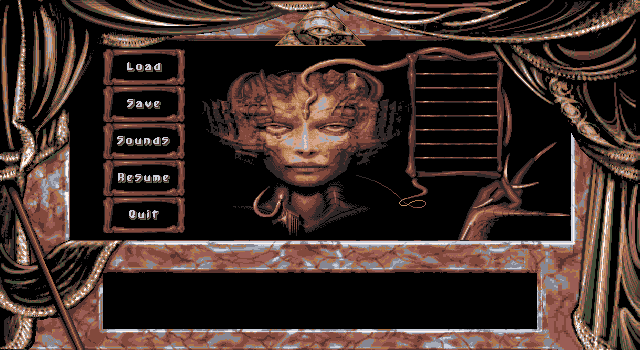 Dark Seed DOS options screen