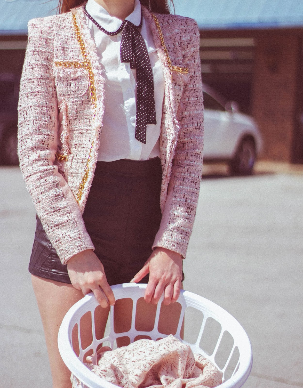 60s style, 60's inspired outfit, pink tweed jacket, high waisted shorts, forever 21, ruffle socks, american apparel, retro outfit, cat eye, peter pan collar blouse, girly, feminine, stop cat calling, fashion blogger, film blogger, film, movies