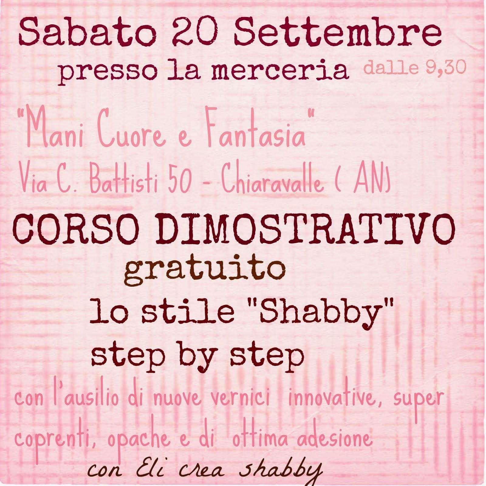 "Corso dimostrativo gratuito "" Lo stile Shabby step by step"""