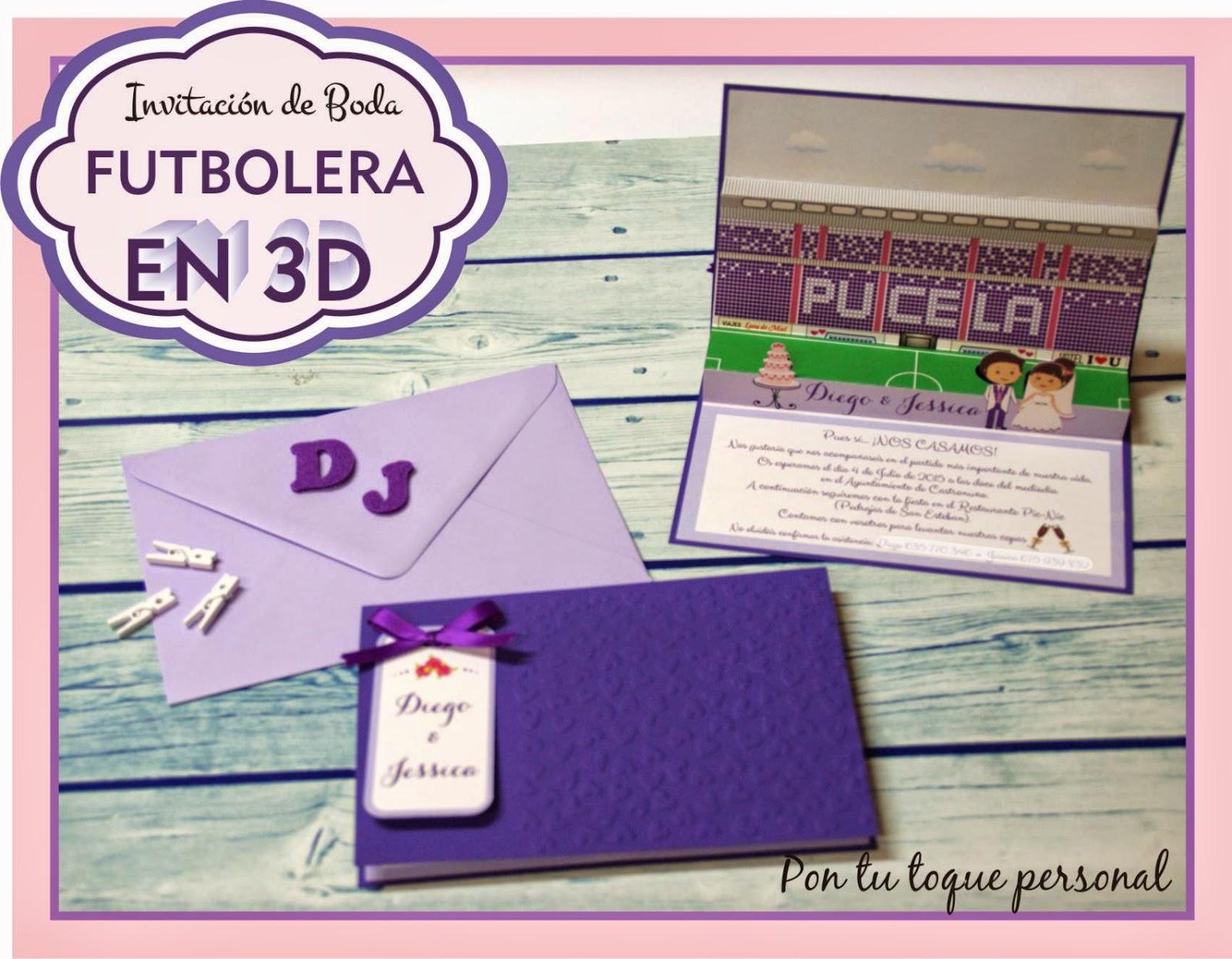 Invitación boda original futbol 3 dimensiones violeta Pucela