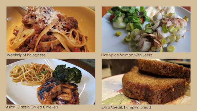Photos of pasta with bolognese sauce, salmon with leeks, asian grilled chicken and pumpkin bread