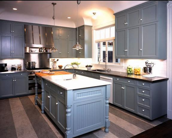 Delorme designs great gray blue kitchen - Painted kitchen cabinets ideas ...