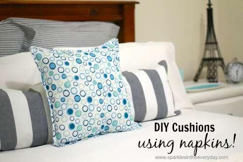 Easy DIY Cushions using Napkins