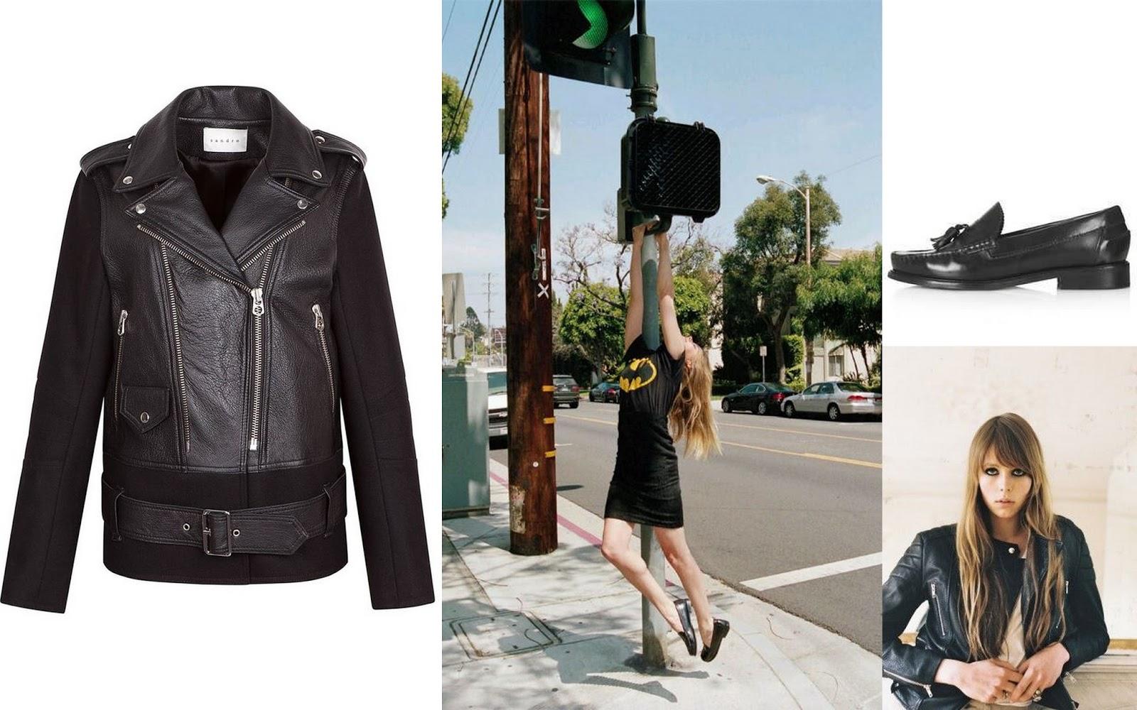 Amber heard, amber heard style, edie campbell, biker jacket, Biker jacket Sandro, loafers