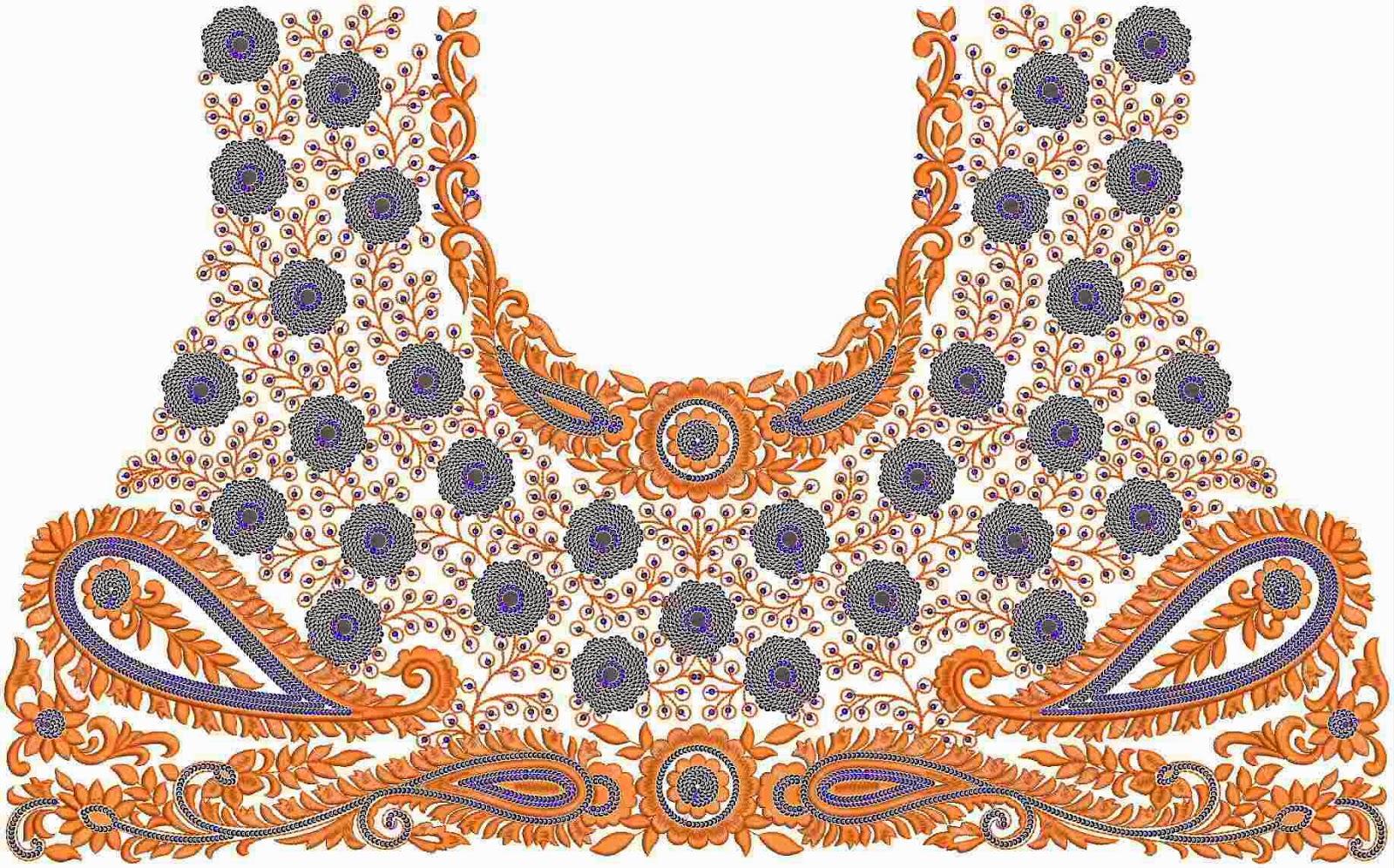 Suid-Asiatiese borduurwerk nek