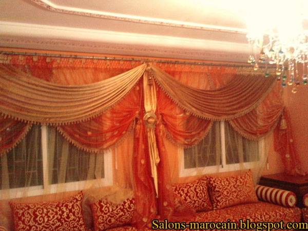 rideau salon marron deux cache rideaux pour le salons marocain moderne 2013 - Salon Marocain Moderne Orange Marron