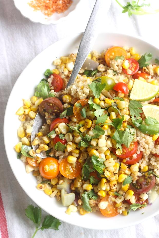 Charred Sweet Corn & Tomato Quinoa Salad with Sriracha-Lime Sea Salt by SeasonWithSpice.com