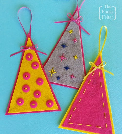 free felt christmas tree ornament pattern with craft tutorial by the funky felter