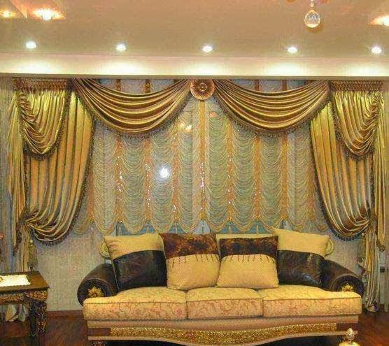 Salon marocaine moderne rideaux occultants style marocain - Rideaux salon ...