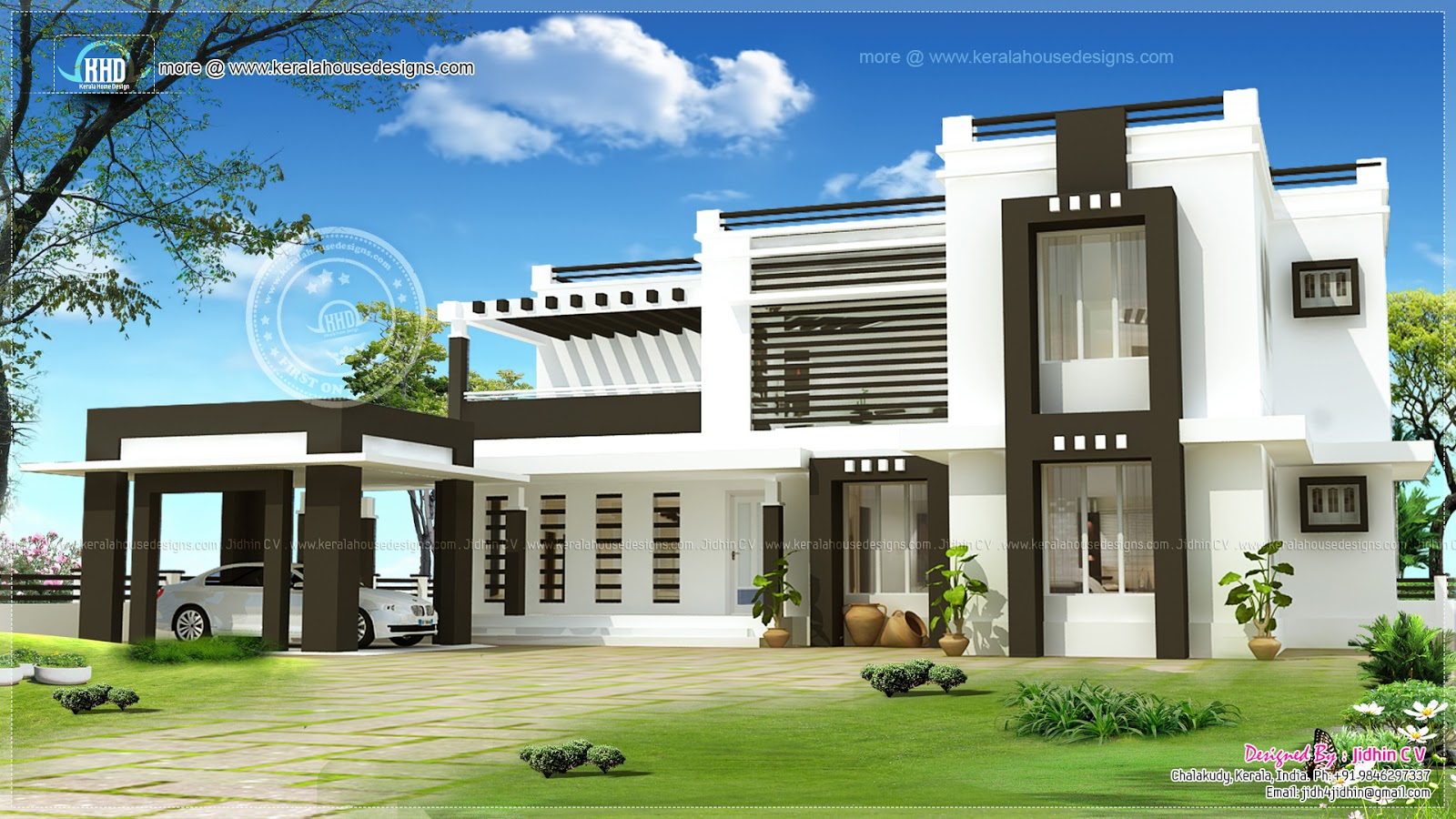3400 sq ft flat roof house exterior kerala home design for Exterior design building