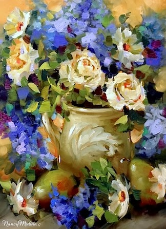 First Love White Roses, 16X12, oil, another late night in the studio, fortified by hot chocolate with marshmallows... http://nancymedina.fineartstudioonline.com/workszoom/1379936