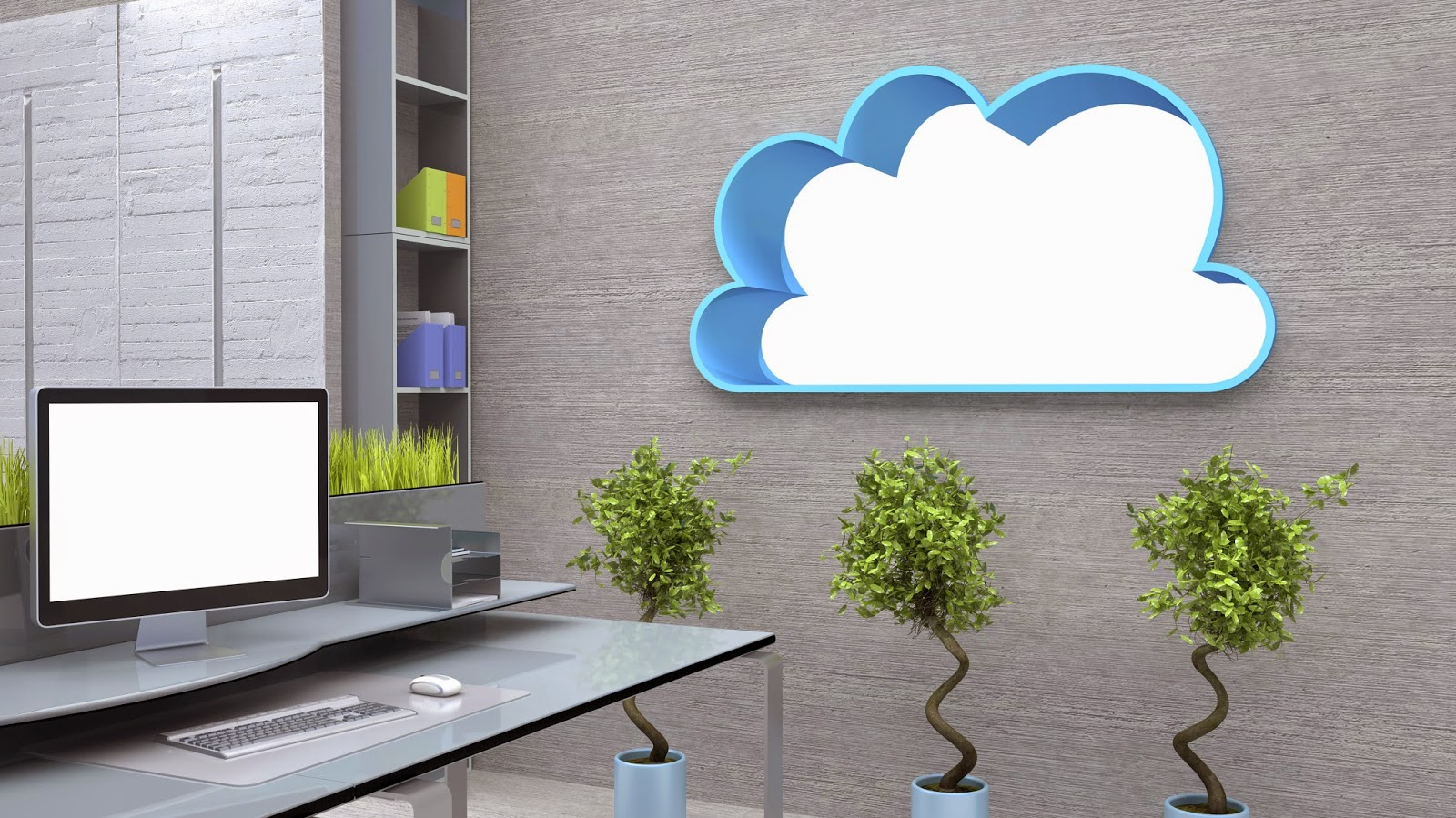 Cloud-shaped window in modern office