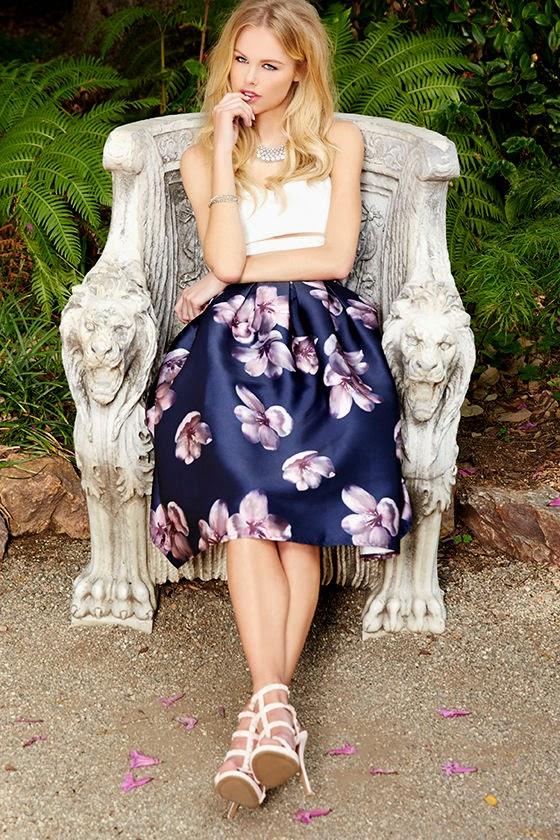 Fallen Petal Navy Blue Floral Print Midi Skirt