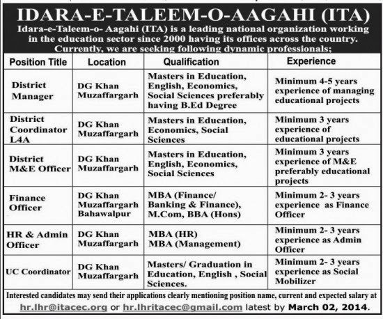 Jobs Available in Idara e Taleem o Aagahi DG Khan, Punjab